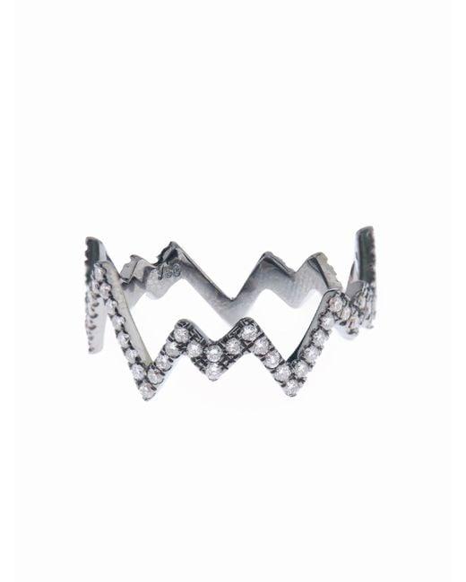 Diane Kordas   White-Diamond & Black-Gold Pop Art Ring   Lyst
