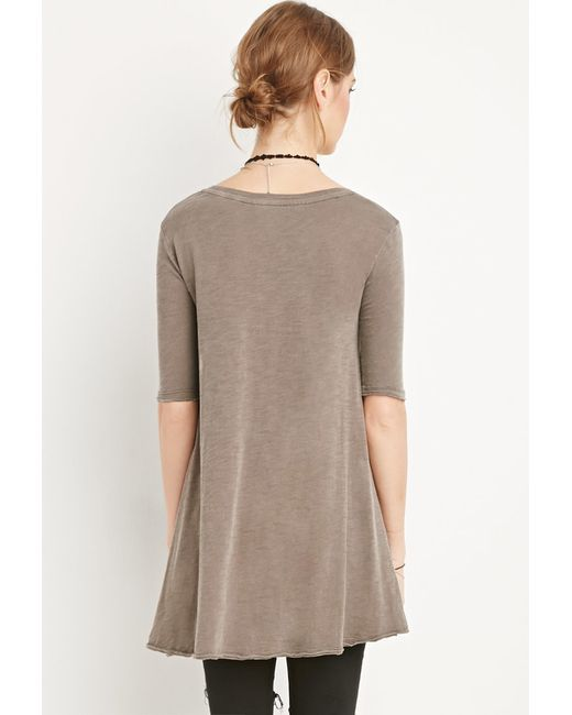 Forever 21 | Brown Raw-cut Longline Trapeze Tee | Lyst