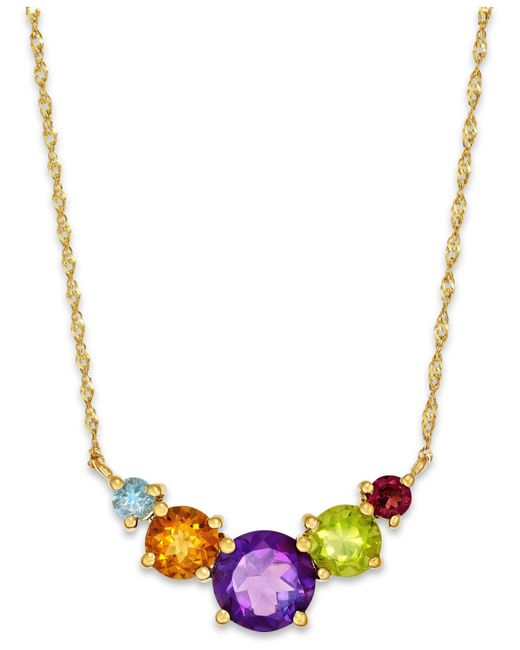 Macy's | Metallic Multicolor 5-stone Necklace In 10k Gold | Lyst