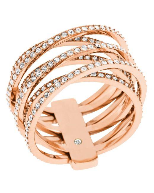 Michael Kors | Metallic Pave Criss Cross Ring | Lyst