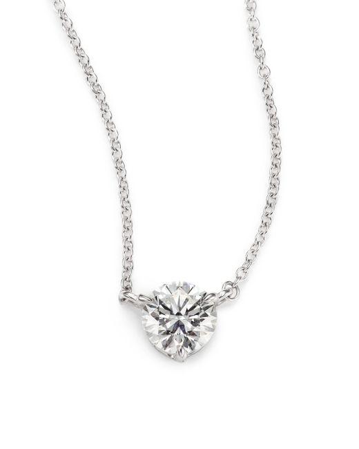 Kwiat | Metallic Diamond & Platinum Large Solitaire Pendant Necklace | Lyst