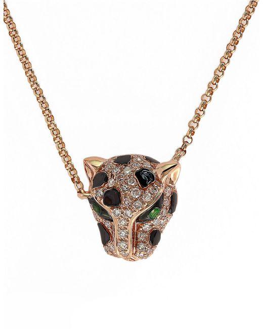Effy | Metallic Signature 14k Rose Gold Diamond And Tsavorite Pendant Necklace | Lyst