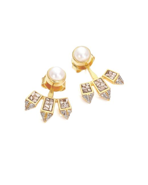 Shana Gulati | Metallic Diamond & 18k Yellow Gold Marit Ear Jacket & White Pearl Earrings Set | Lyst