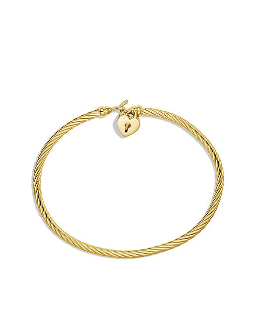 David Yurman | Metallic Heart Lock Bracelet In 18k Gold | Lyst