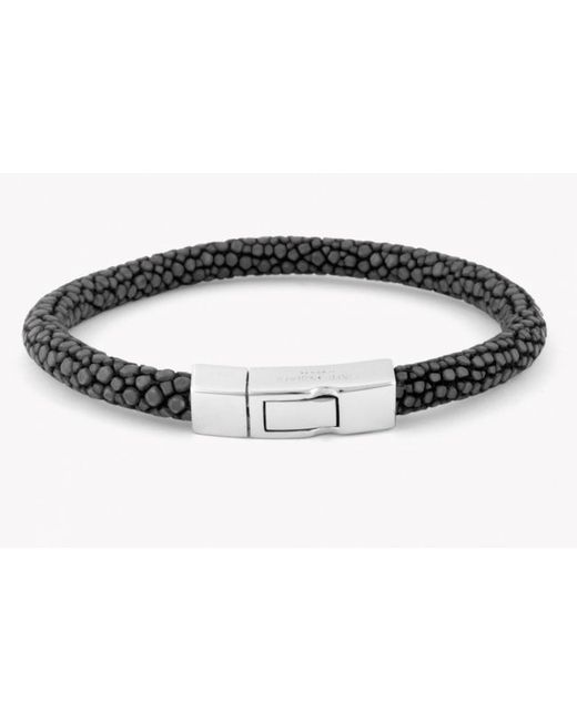 Tateossian | Galuchat Bracelet In Grey Stingray Skin With Silver Clasp for Men | Lyst