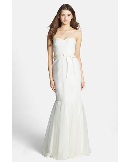 Monique Lhuillier Bridesmaids | White Strapless Tulle Trumpet Dress | Lyst