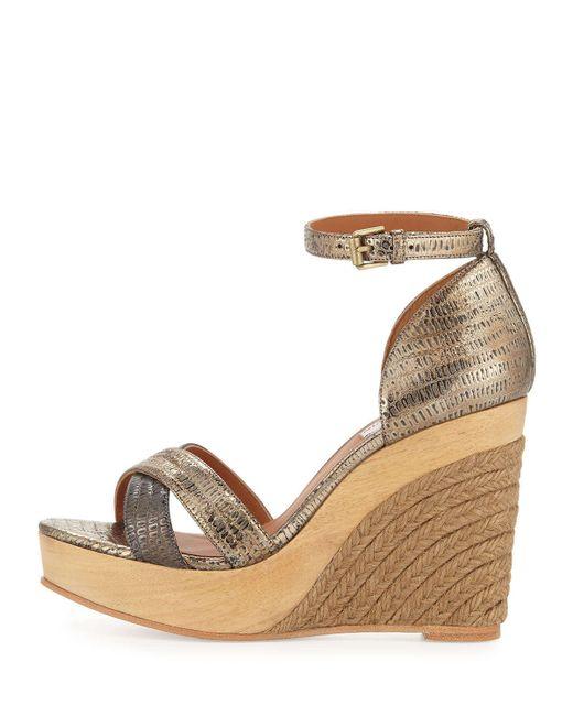 Lanvin Gold Metallic Espadrille Wedge Sandals Lyst