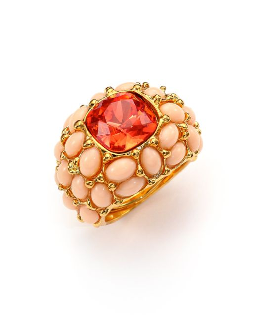 Kenneth Jay Lane | Red Cabochon Cluster Cocktail Ring | Lyst
