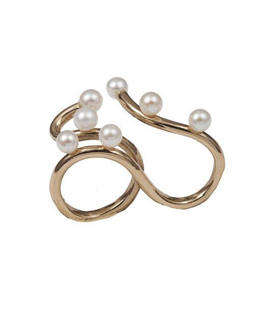 Bernard Delettrez   Metallic Bronze Two Finger Ring With 7 Pearls   Lyst