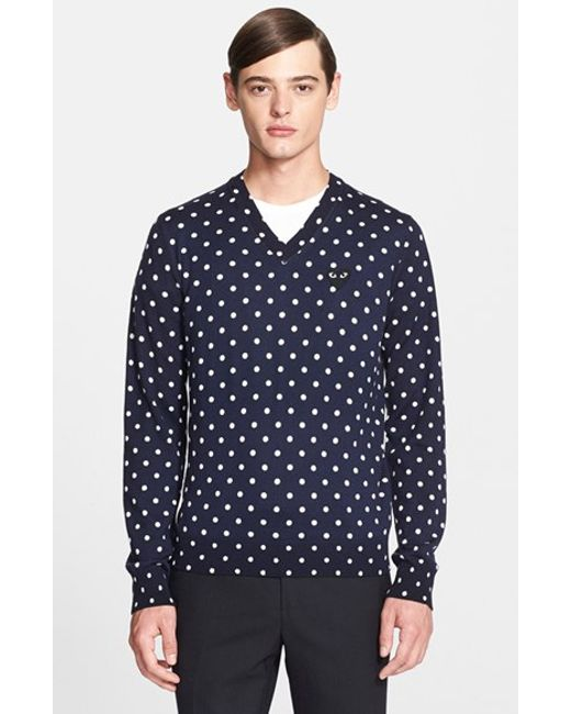 Comme des Garçons | Blue Play Dot Pattern V-neck Sweater for Men | Lyst