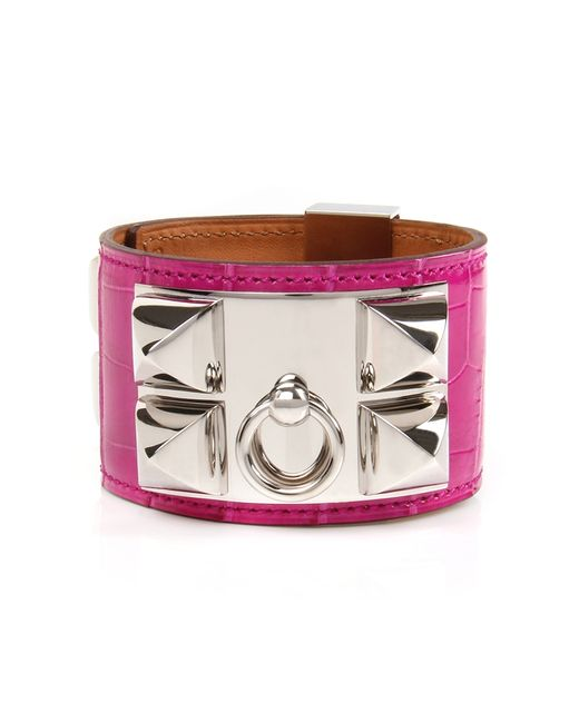 Hermès | Pink Rose Scheheraza De Shiny Alligator Collier De Chien Bracelet | Lyst
