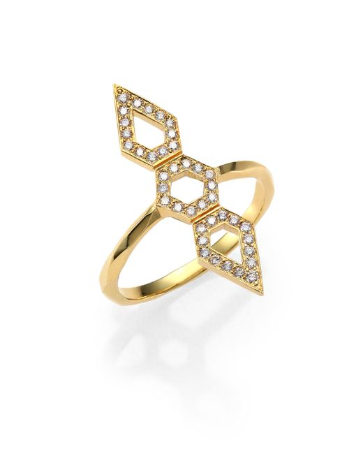 Ron Hami | Metallic Orighami PavÉ Diamond & 18K Yellow Gold Three-Shape Totem Ring | Lyst
