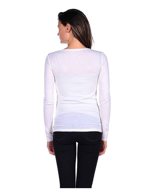 Majestic Filatures   White Long Sleeve Cotton/cashmere Crewneck   Lyst