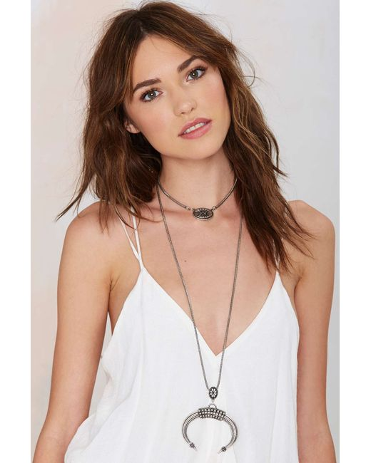 Nasty Gal | Metallic Lock Horns Necklace | Lyst