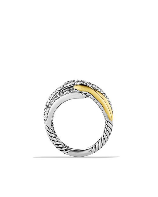 David Yurman | Metallic Labyrinth Double-loop Ring With Diamonds And 18k Gold | Lyst