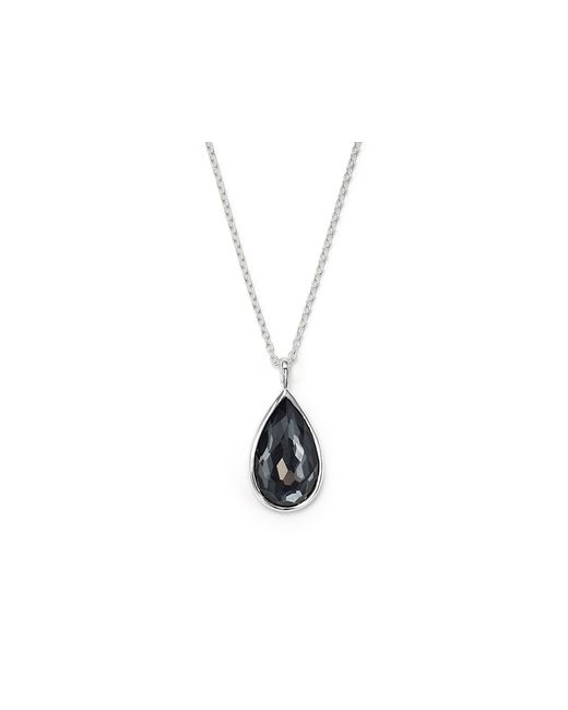 Ippolita | Metallic Sterling Silver Rock Candy Large Pear Necklace In Clear Quartz And Hematite, 16"