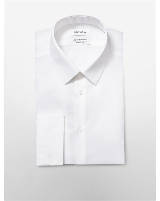 Calvin Klein | White Steel Slim Fit Bedford French Cuff Non-iron Dress Shirt for Men | Lyst