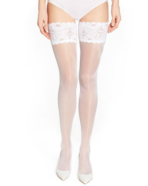 Wolford | White 'satin Touch 20' Thigh High Stay Up Stockings | Lyst