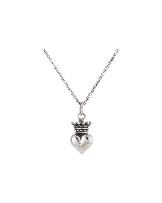 "King Baby Studio | Metallic Micro Crowned Heart Pendant On 18"" Micro Rolo Chain 