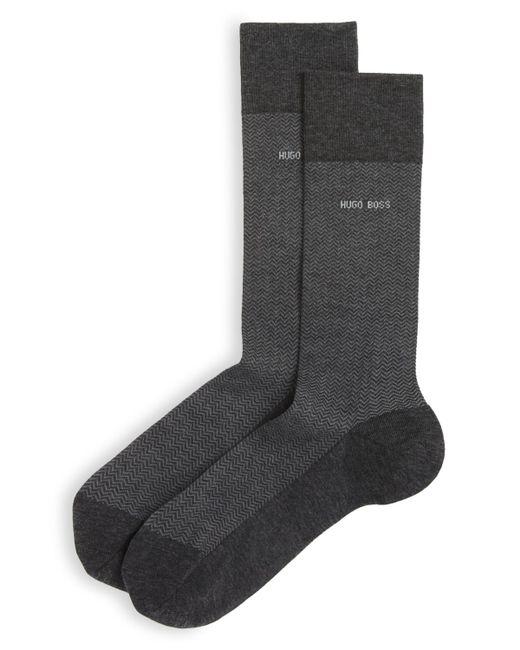 BOSS | Gray Mercerized Cotton Herringbone Socks for Men | Lyst