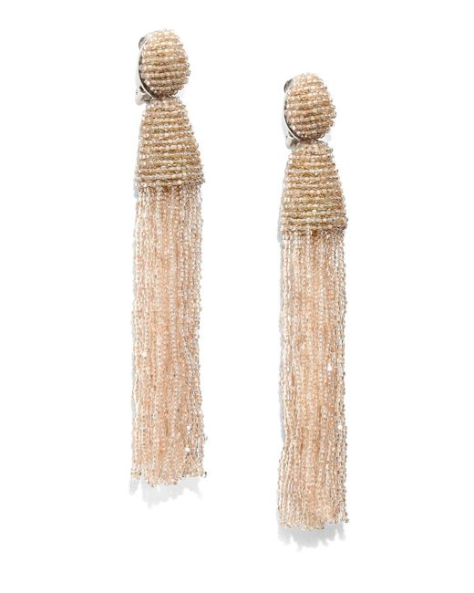 Oscar de la Renta | Brown Long Ombre-Beaded Tassel Earrings | Lyst