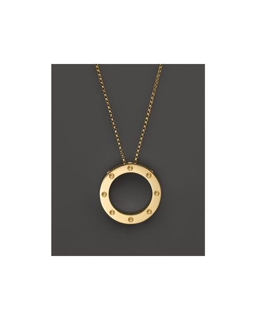 "Roberto Coin | Metallic 18k Yellow Gold Pois Moi Circle Pendant Necklace, 18"" | Lyst"