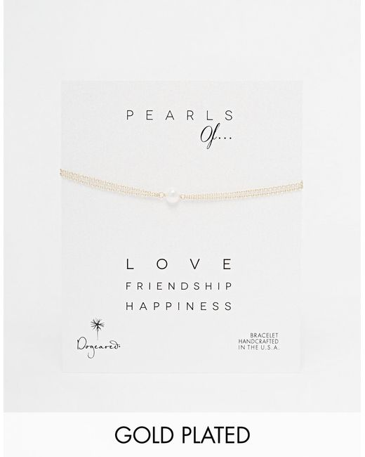 Dogeared | Metallic Gold Filled Pearls Of Love Double Chain Bracelet - Gold | Lyst