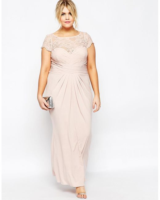 Asos Curve Wedding Pleated Maxi Dress With Lace Top In