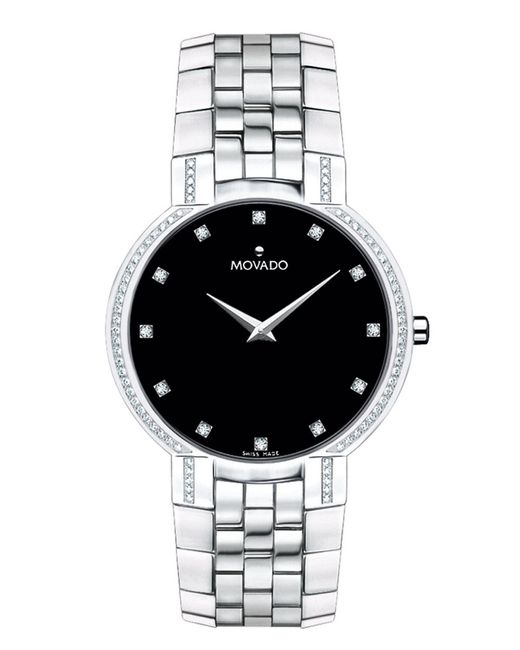 movado mens faceto stainless steel in silver