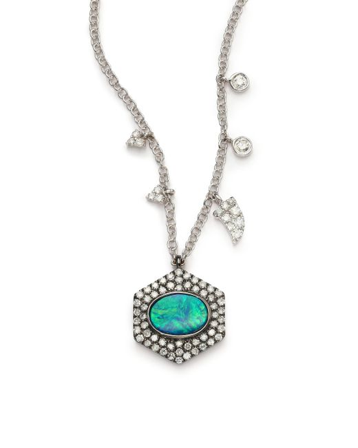 Meira T | Green Opal, Diamond & 14k White Gold Hexagon Pendant Necklace | Lyst