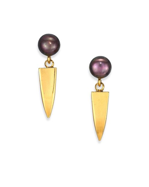 Lizzie Fortunato | Metallic Dagger 6mm-6.5mm Peacock Round Pearl Drop Earrings | Lyst