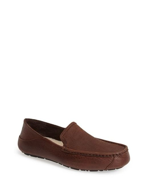 UGG | Brown Ugg 'hunley' Leather Moccasin Loafer for Men | Lyst