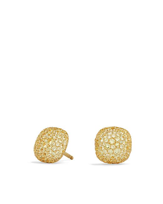 David Yurman | Metallic Pavé Earrings In 18k Gold | Lyst