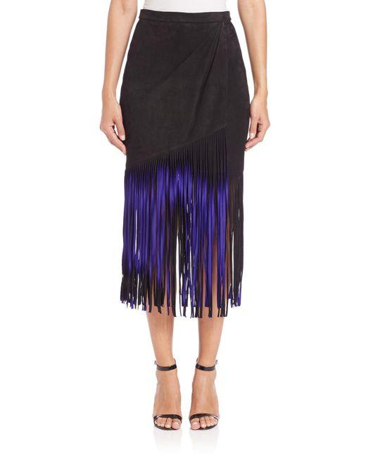Tamara Mellon | Purple Signature Suede Fringe Skirt | Lyst