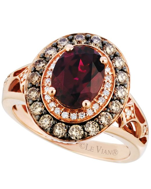 Le Vian | Red Raspberry Rhodolite Garnet (2 Ct. T.w.) And Diamond (3/4 Ct. T.w.) Ring In 14k Strawberry Rose Gold | Lyst