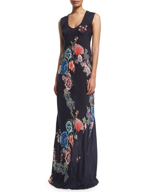 Johnny Was Augustine Sleeveless Floral Print Maxi Dress In