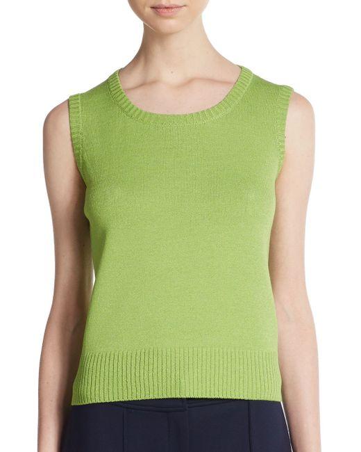 St. John | Green Santana Knit Tank | Lyst