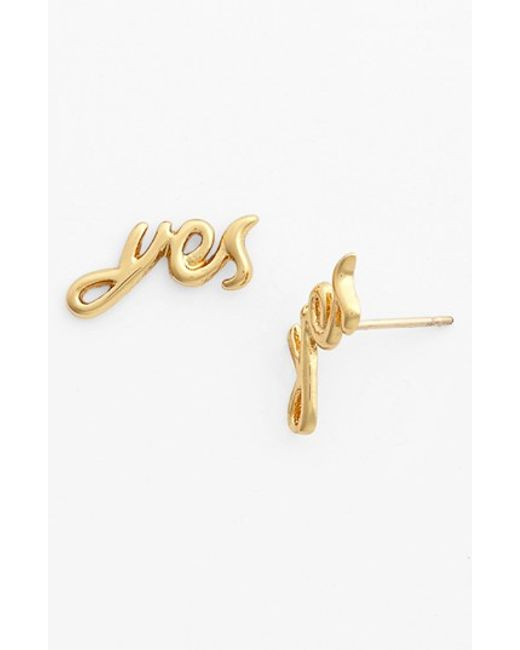 Kate Spade | Metallic 'say Yes' Stud Earrings | Lyst
