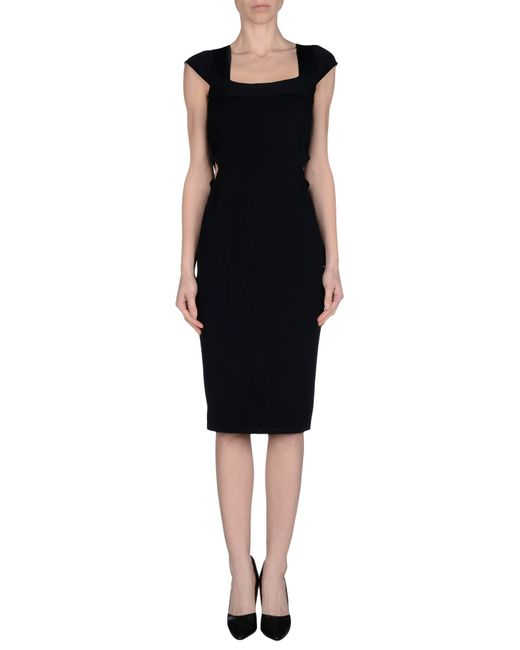 Stella mccartney knee length dress in black save 42 lyst
