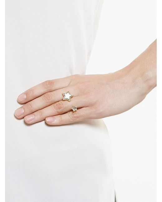 Marie-hélène De Taillac | Metallic 18kt Gold Double Star Aquamarine Ring | Lyst
