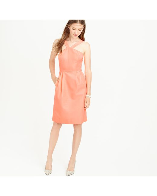 J.Crew | Orange Lexie Dress In Classic Faille | Lyst