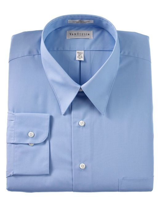 Van heusen big and tall wrinkle free poplin dress shirt in for How do wrinkle free shirts work