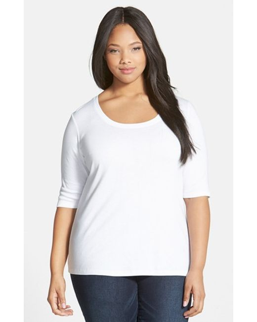 Sejour | White Elbow Sleeve Scoop Neck Tee | Lyst