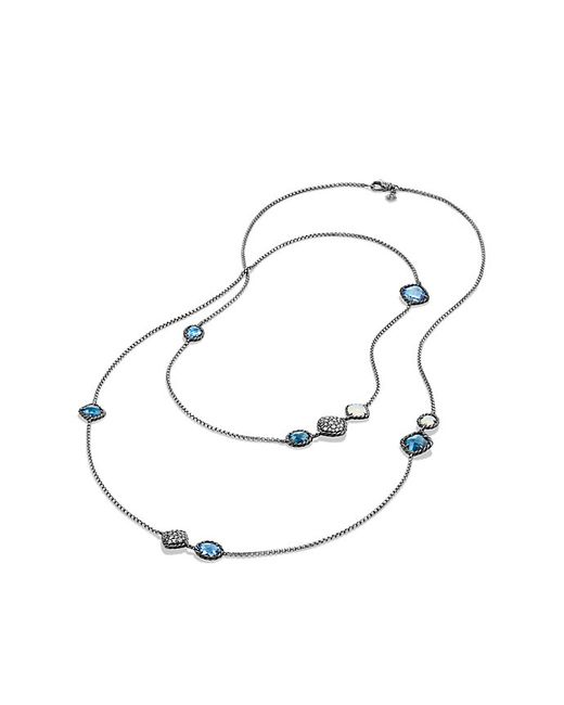 David Yurman | Bijoux Chain Necklace With Blue Topaz, Hampton Blue Topaz And Gray Diamonds | Lyst