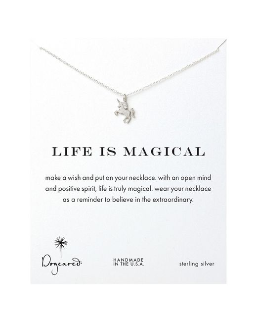 Dogeared | Metallic Sterling Silver Silver Life Is Magical Unicorn Pendant Necklace | Lyst