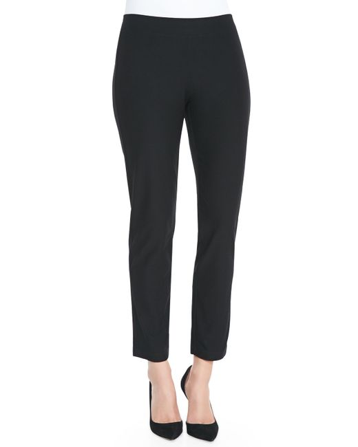 Eileen Fisher | Black Washable Crepe Slim Ankle Pants | Lyst