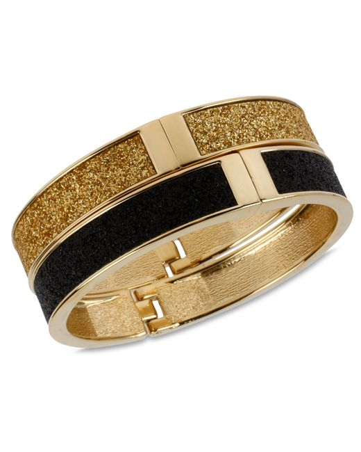 Betsey Johnson | Metallic Gold And Black Glitter Bangle Bracelet Set | Lyst