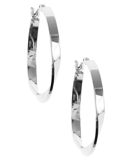 Nine West | Metallic Silver Twisted Link Hoop Earrings | Lyst