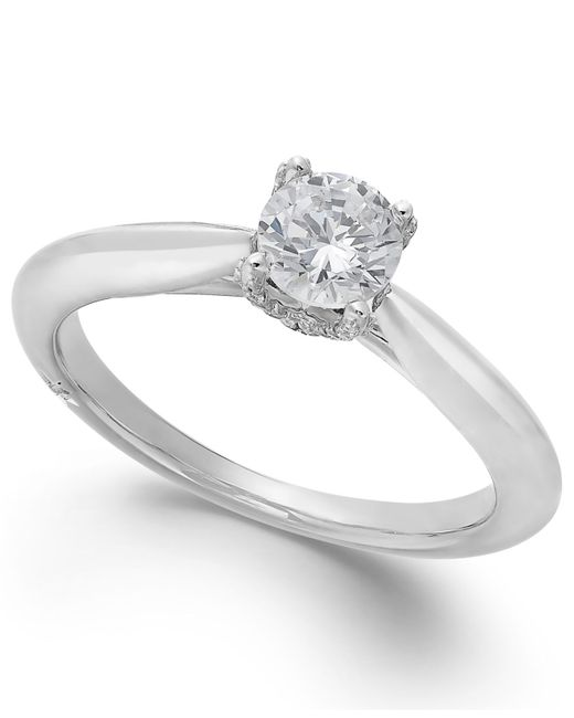 Marchesa | Classic By Certified Diamond Solitaire Engagement Ring In 18k White Gold (1/2 Ct. T.w.) | Lyst