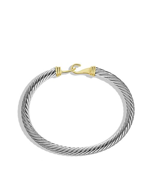 David Yurman | Metallic Cable Classic Buckle Bracelet With 14k Gold, 5mm | Lyst